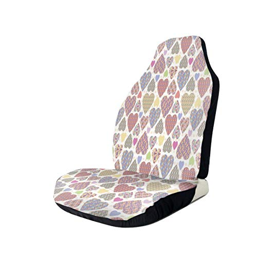 MIOMIOK Seat Covers Vehicle Protector Car Mat, Colorful Hearts with Ornamental Mosaic Patterns Valentines Affection Wishes Theme,Fit Most Cars, Sedan, Truck, SUV,2pcs