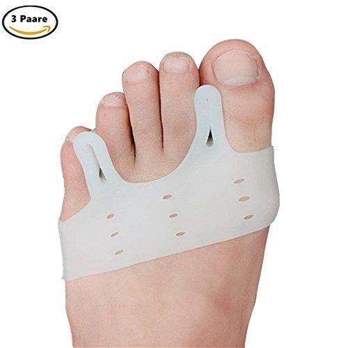 3 Paare Hallux Valgus Bunion Corrector Relief Gel Toe Separator für Hammer Toe mit Vorfuß Pads Kissen, Silikon Toe Straightener für Männer und Frauen, Easy Wear in Schuhen