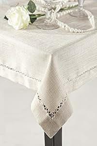 150x220 creme Tischdecke Tischtuch Leinoptik ornamente Form pflegeleicht praktisch elegant Emily
