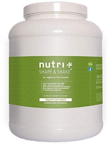 Nutri-Plus Shape & Shake Vegan Schokolade 2kg - Veganes Proteinpulver ohne Aspartam, Laktose & Milcheiweiß Pflanzlichen Farbstoff Pulver