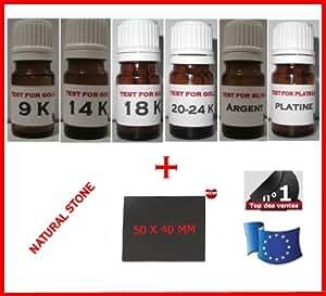 """TESTEUR OR 9 14 18 24 K CARATS """" PROMO KIT 6 FLACONS PRET A L'EMPLOI """" + TESTEUR ARGENT + TESTEUR PLATINE + PIERRE DE TOUCHE NATURELLE 50x40mm + GUIDE EXPERTISE OFFERT (TEST TESTING GOLD STONE)"""