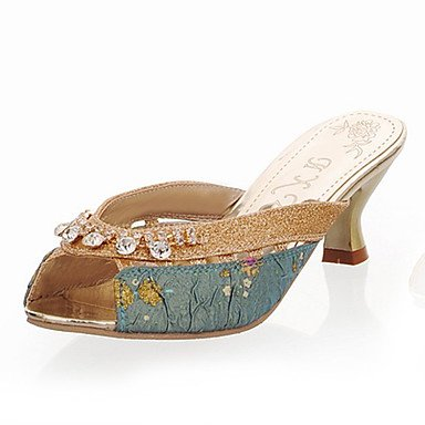 LvYuan Damen-Slippers & Flip-Flops-Kleid Lässig-Kunststoff-Blockabsatz-Andere-Blau Gold Blue