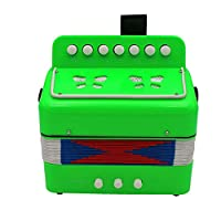 7 Keys 2 Bass Accordion Kids Accordion Toy Solo Ensemble Instrument Musical Educational Instrument for Early Childhood Teaching Fluorescent Green