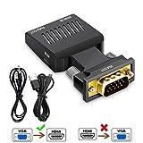 Urbetter VGA zu HDMI Adapter mit Audio (Alter PC zu TV/Monitor mit HDMI), VGA zu HDMI TV Konverter für HDTV, Computer, Projektor mit Audio Kabel und Micro USB Kabel, Plug and Play - Schwarz