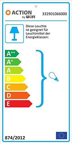 ACTION by WOFI 332901066000, Standleuchte; Serie: Fynn; Farbe: Nickel matt; Farbe (Schirm): weiß; Höhe: 150 cm/Ø: 25 cm, Metall, 60 watts, E27, Nickel-matt/Weiß, 25 x 25 x 150 cm