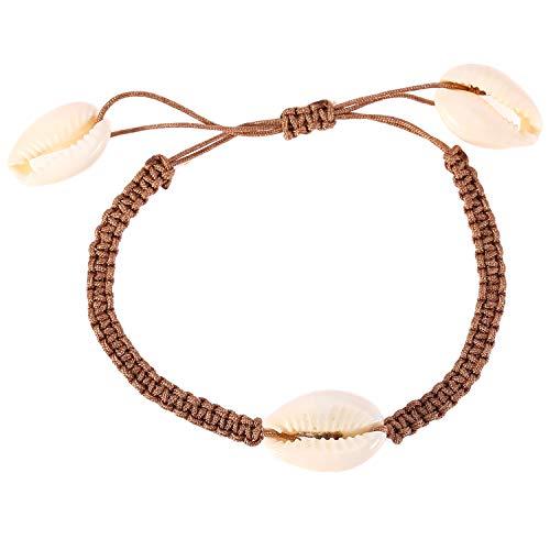 UINGKID Damen-Armband Armreif natürliche Shell handgewebte einstellbare Pull Armband Damen Schmuck -
