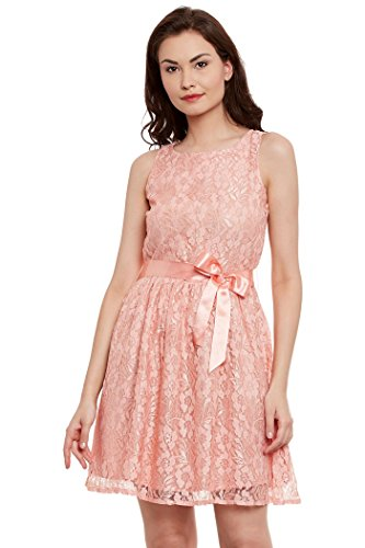 THE VANCA Women Peach lace dress (L) (Rainbow Jersey-band)