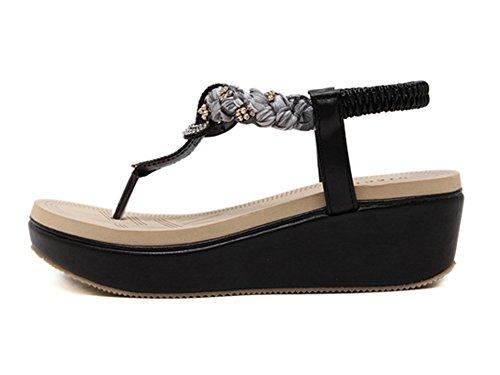 Chaussures Femme Talon Compensé Soirée Casual Sandales Bohême Noir