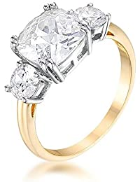 ISADY – Meghan Gold - Women's Ring – 14K Gold plated – Royal Engagement Ring – Emerald Cut – Cubic Zirconia