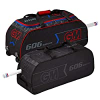 GM Cricket 606 Wheelie 2019 Cricket Bag, Black/Red/Blue, One Size