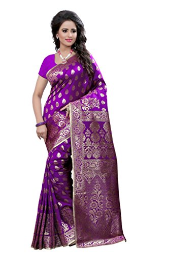 Shree Sanskruti Tassar Silk Saree With Blouse Piece (Purple_Free Size)