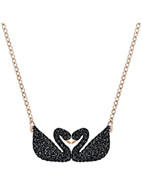 Swarovski Iconic Swan Double Halskette, schwarz