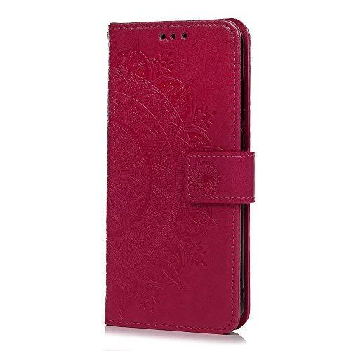 Funda Xiaomi Redmi 5 Plus, Carcasa Libro Piel de Cuero con Tapa Flip Case, Cover PU Leather Con TPU Case Interna Suave, Soporte Plegable, Ranuras para Tarjetas y Billetera Atrapasueños Color Rosa Rojo