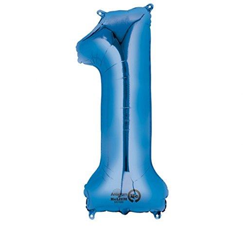 amscan NEU Folienballon Große Zahl 2 blau, 53x88 cm (Die Halloween-schreiben Für Klasse 2.)