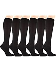 6 Pairs Compression Socks Women & Men - 15-20mmHg Graduated Knee High Socks - for Sport Medical, Athletic, Edema, Diabetic, Varicose Veins, Travel, Pregnancy, Shin Splints, Nursing