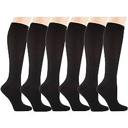 6 Pares Rodilla Alta Calcetines de Compresión - para Hombres y Mujeres (15-20mmHg) Diseño Cómodo Ideales para El Uso Diario, Correr, Embarazo, Vuelos y Viajes de (Negro, S/M)