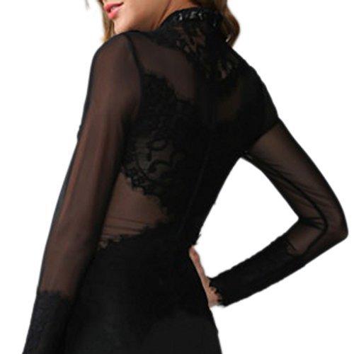 MYWY - Vestito nero donna vestitino party abito pizzo miniabito aderente maniche lunghe Nero