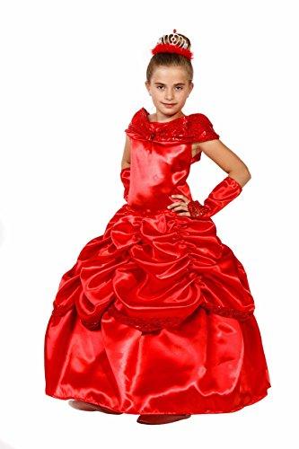 essin Kostüm Kinder Rot Glanz + Krone - Prinzessinnenkleid Mädchen - Prinzessin Kostüm Mädchen (110/116) (Deluxe Prinzessin Belle Kostüme)