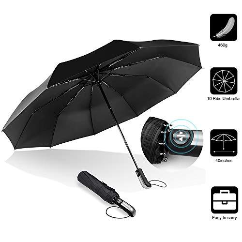 ACLBB Kompakter Regenschirm, Vollautomatischer Windundurchlässiger und Schnell Trocknender Reise-Taschenschirm, Verstärkte 10 Rippen, Rutschfester Griff, Schwarz