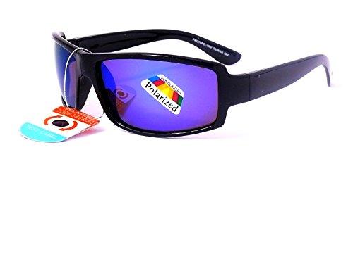 sirrobin Sonnenbrille Sehstärke, polarisiert Sport Polarised Herren Damen TN 023D, monture Noire verres revo bleu
