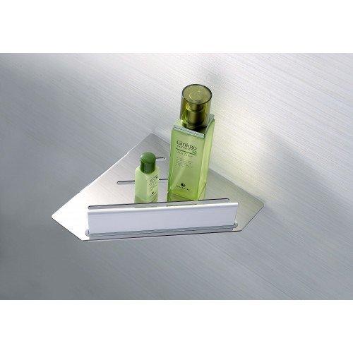 Eck-Duschablage mit Dusch Abzieher Mio von Escara | Duschabzieher aus weißen ABS Kunststoff und Duschregal aus verchromten Edelstahl | Duschzubehör | …