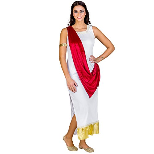 Frauenkostüm olympische Göttin Aphrodite | langes Kleid mit aufgenähter Schärpe | Bordüre am Hals und am Saum | Armband mit Pailletten (XXL | Nr. (Griechische Liebe Kostüme Der Göttin)