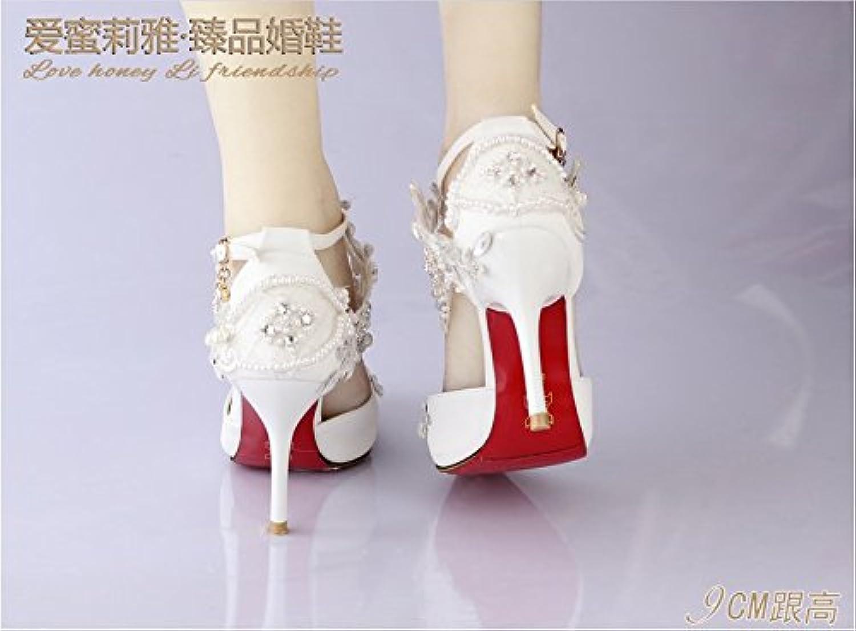 VIVIOO Prom Sandals Pointed Lace Pearl Diamond,High-Heeled Diamond,High-Heeled Diamond,High-Heeled Wedding scarpe Female Sandals,Wedding Photo scarpe,Bride... | prezzo di vendita  2ddbc0
