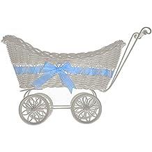 livivo® grandes bebé cochecito Hamper–Cesta de mimbre con asas, ruedas y colorido de satén lazo–perfecto para la ducha del bebé o bebé recién nacido Regalos