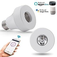 Idea Regalo - Wi-Fi Smart Light Bulb Socket Bulb Adattatore Base Converter E27 Lampada Holde Plug Funziona con Echo Alexa e Google Home Assistant Phone APP Telecomando I tuoi dispositivi da qualsiasi luogo Funzione di sincronizzazione 2 / Pack