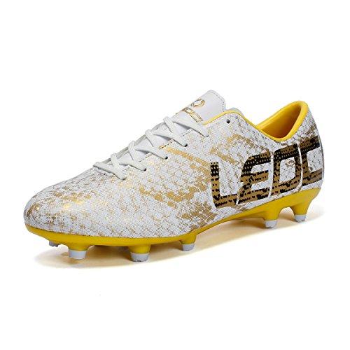 ASHION Jungen Unisex-Kinder Jugendliche Fußballschuhe AG Spike Microfaser Cleats Beruf Athletics High Top Football Boots (40 EU, Violett) (Jungen Cleats Football)