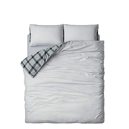 HMEIGUI Bettwäsche Bettbezug-Sets - Reversible gewaschener Baumwolle Bettwäsche Tröster-Set grau Karierten Queen Bettbezug, Reißverschluss Falten 4-teiliges Set,Gray_Full Size -
