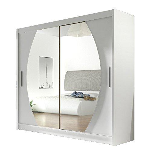 Kleiderschrank mit Spiegel London IV, Schwebetürenschrank, Schiebetürenschrank, Modernes Schlafzimmerschrank 180x215x57cm, Schlafzimmer, Garderobe...