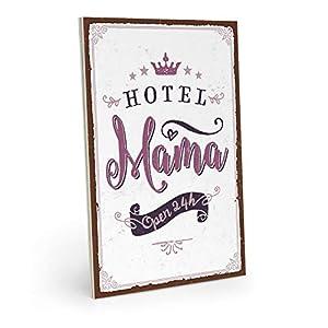 ARTFAVES Holzschild mit Spruch - Hotel Mama - Vintage Shabby Deko-Wandbild/Türschild