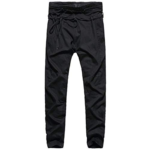 Männer Nner Harem Hosen Casual Pant Hosen Jungen Low Crotch Männer Nner Jogger Hosen Freizeithose Elastische Taille (Color : Schwarz, Size : XL)