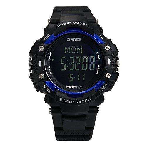 Smart Watch Sport Armband Uhr für Herren Damen, LANCARDO digitale wasserdichte Fitness Sportuhr mit schrittzähler pulsmesser Kalender Alarm Chronograph Stoppuhr schwarz blau