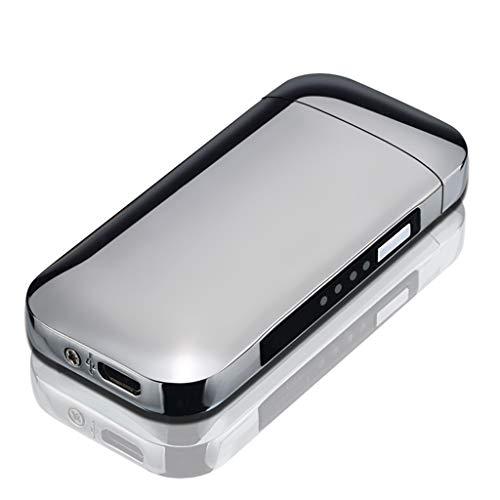 Huafi USB Feuerzeug Energieanzeige Feuerzeug Lichtbogen USB Aufladbar ohne Flamme, Wind Proof Flameless Electric Arc Cigarette Lighter, Geschenk für Männer (Silber)