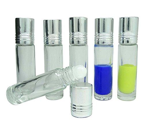 12 pcs rechargeable rouleau bouteille d'aromathérapie huile essentielle vide verre clair roll-on bouteilles gros boston round Attar bouteille 6 ml Roller Ball