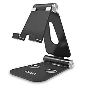 Tizum Z12 Anodized Aluminum Adjustable Foldable Stand for All Smartphones, Tabs, Kindle, iPad (Black)
