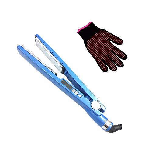 Alisador de pelo profesional con placas de titanio Nano de 3 cm, plancha plana, herramienta de peluquería rápida, azul con guante de silicona resistente al calor, color rosa