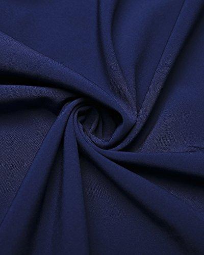 ACHIOOWA Damen Shirt Langarm Aus der Schulter Casual Oversize Tops Party Oberteil Trägerlos Strench Locker Tunika Blau
