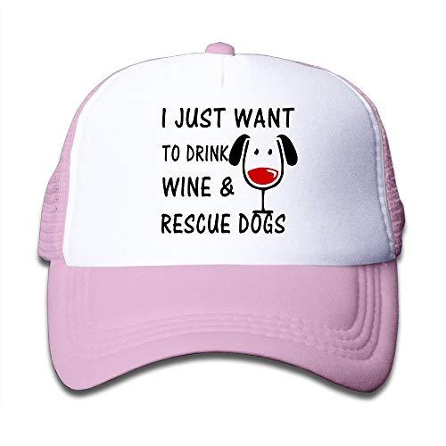 Nifdhkw Enfants, Je Veux Juste Boire du vin et des Chiens de Sauvetage Sport Snapback Hat Cool Hat Unisex41