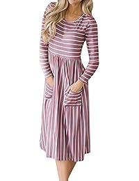 Damen Elegant Kleider Hemdrock T-Shirt Kleid Langarmkleid Streifen Drucken  Strandkleid Lose Einfache Einfarbig Maxi c789d544a9