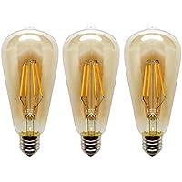 KJLARS 3x 4W E27 ST64 Edison Vintage LED Filament Bulb, Warm White 2200K LED Light Bulb