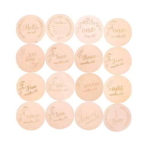 burt Geschenk 16PC Baby Girl Boy Geburtstag Festival aus Holz personalisierte Plaque Geburt Zeichen Andenken Typografie Geschenk ()