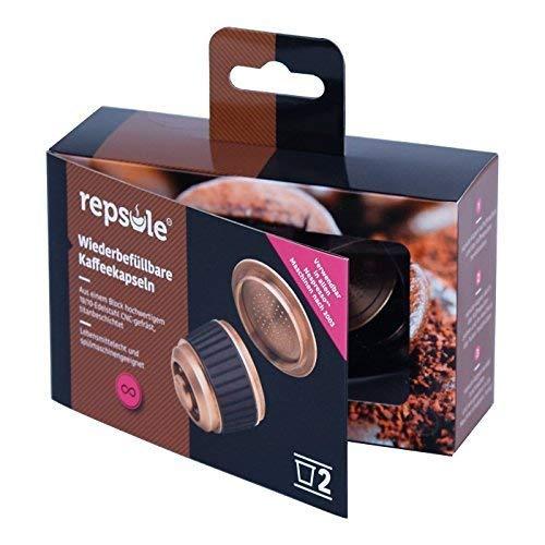 repsule Set - 2x wiederbefüllbare Kaffeekapsel aus Edelstahl - Mehrweg/nachfüllbar und umweltfreundlich