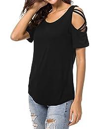 Goolook Damen T-Shirt Sommer Kurzarm Rundhalsausschnitt Strappy Cold  Shoulder Oberteil… 078c1680f0
