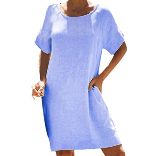 POPLY Frauen Lange Tops Minikleid Lose Baumwolle Leinen Kurzarm O-Ausschnitt Einfarbig Beiläufiges Kleider für Damen(Blau,XL)