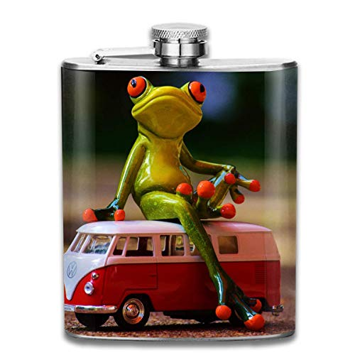 Vw Bulli Frog Vw Bus Volkswagen Camper Auto Wine Flasks Hip Flask with Funnel Stainless Steel 7 OZ Multicolor (Kappen Personalisierte Flasche)