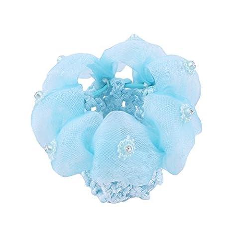 DealMux Women Rhinestones Inlaid Decor Flower Ponytail Holder Snood Bun Cover Hair Net Blue