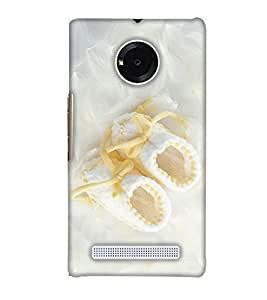PrintHaat Designer Back Case Cover for YU Yuphoria :: YU Yuphoria YU5010 :: YU Yuphoria YU5010A (Beautiful white cloth shoes on silk satin with yellow laces)